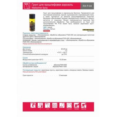 Грунт для прошлифовки аэрозоль Washprimer Spray RX P-04